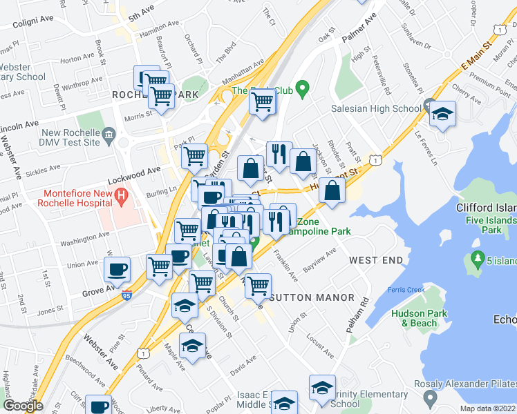 map of restaurants, bars, coffee shops, grocery stores, and more near 45 Harrison Street in New Rochelle