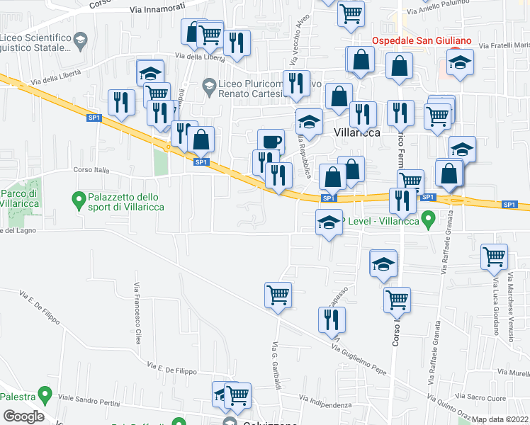 map of restaurants, bars, coffee shops, grocery stores, and more near 338 Corso Europa in Villaricca