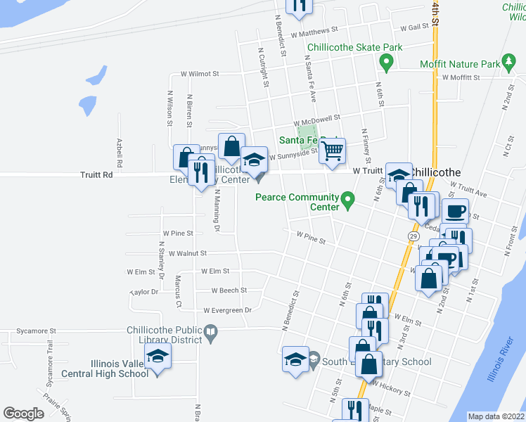 map of restaurants, bars, coffee shops, grocery stores, and more near 1007 North Cutright Street in Chillicothe