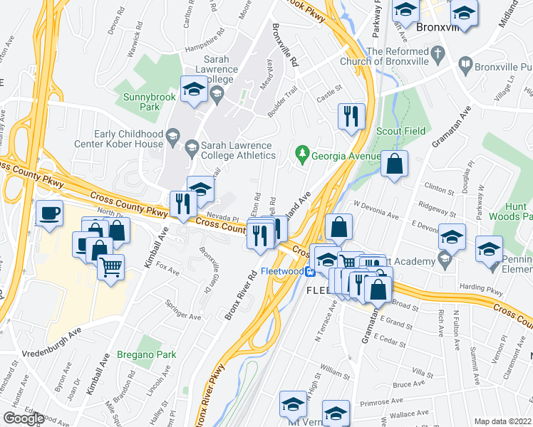 map of restaurants, bars, coffee shops, grocery stores, and more near 31 Ardell Road in Yonkers