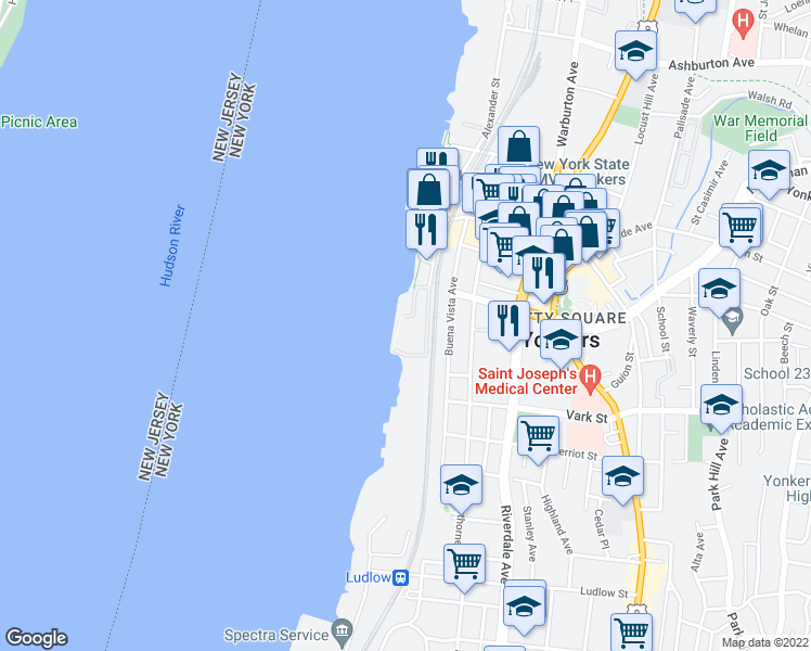 map of restaurants, bars, coffee shops, grocery stores, and more near 20 Water Grant Street in Yonkers