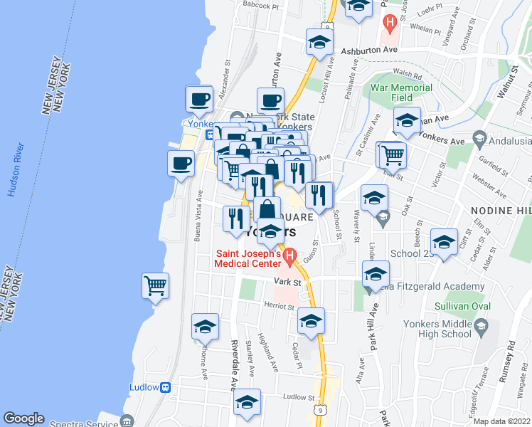 map of restaurants, bars, coffee shops, grocery stores, and more near 41 S Broadway in Yonkers