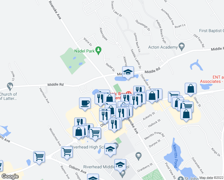 map of restaurants, bars, coffee shops, grocery stores, and more near 1333 Roanoke Avenue in Riverhead