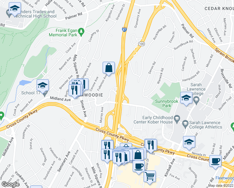 map of restaurants, bars, coffee shops, grocery stores, and more near 1304 Midland Ave in Bronx