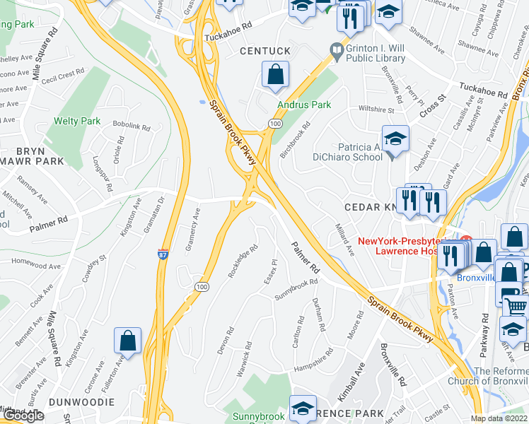 map of restaurants, bars, coffee shops, grocery stores, and more near 61 Rockledge Road in Bronxville