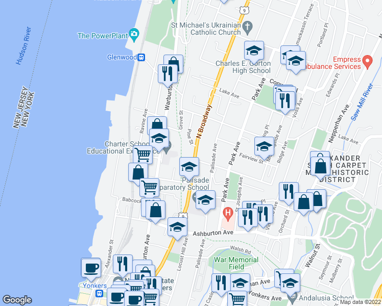 map of restaurants, bars, coffee shops, grocery stores, and more near 279 North Broadway in Yonkers