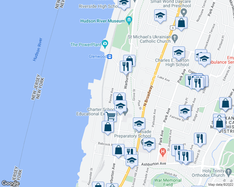 map of restaurants, bars, coffee shops, grocery stores, and more near 40 Point Street in Yonkers