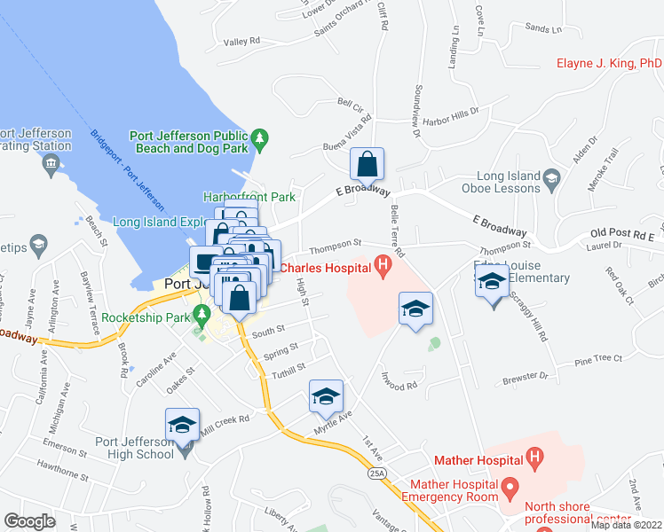 map of restaurants, bars, coffee shops, grocery stores, and more near 118 Campbell Street in Port Jefferson
