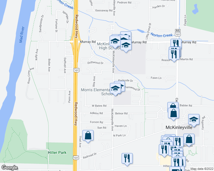 map of restaurants, bars, coffee shops, grocery stores, and more near 1150 Katrina Court in McKinleyville