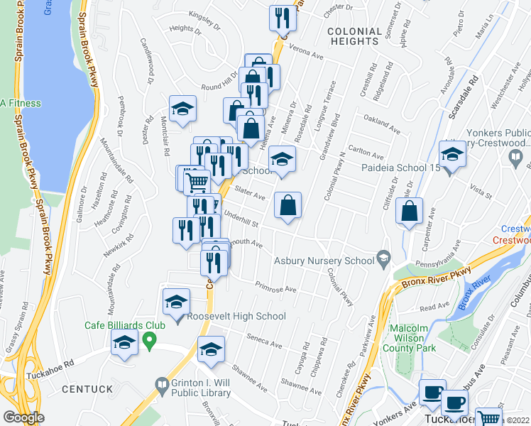 map of restaurants, bars, coffee shops, grocery stores, and more near 32 Slater Avenue in Yonkers