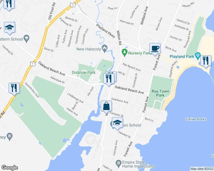 map of restaurants, bars, coffee shops, grocery stores, and more near 1 Riverside View Lane in Rye