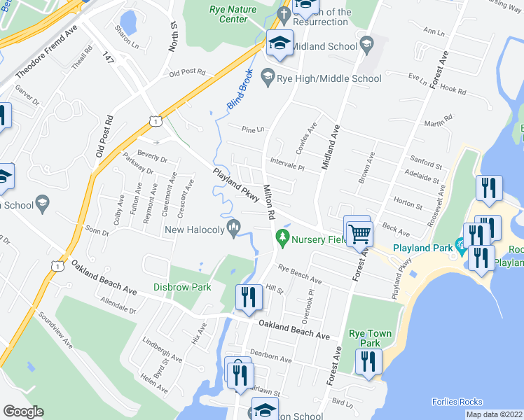 map of restaurants, bars, coffee shops, grocery stores, and more near 4 Ellsworth Street in Rye