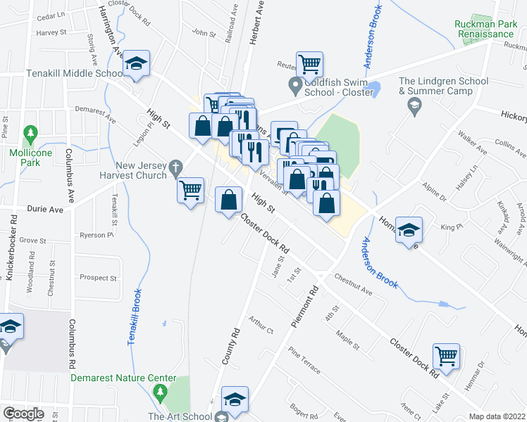 map of restaurants, bars, coffee shops, grocery stores, and more near 514 High Street in Closter
