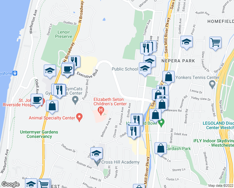 map of restaurants, bars, coffee shops, grocery stores, and more near 166 Executive Boulevard in Yonkers