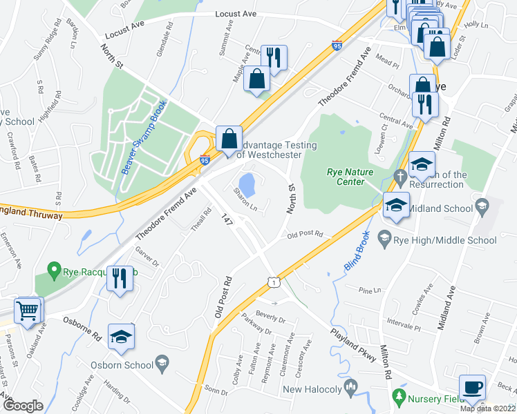 map of restaurants, bars, coffee shops, grocery stores, and more near 0 Rye Road in Rye