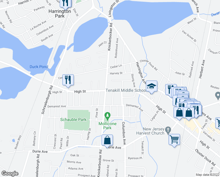 map of restaurants, bars, coffee shops, grocery stores, and more near 159 High Street in Closter