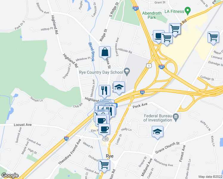 map of restaurants, bars, coffee shops, grocery stores, and more near 34 New Street in Rye