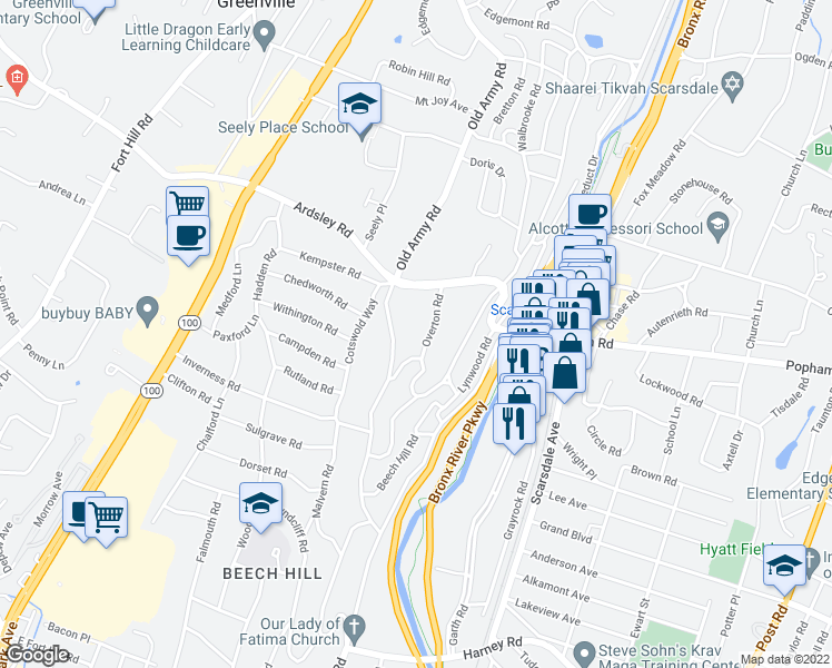 map of restaurants, bars, coffee shops, grocery stores, and more near 45 Overton Road in Scarsdale