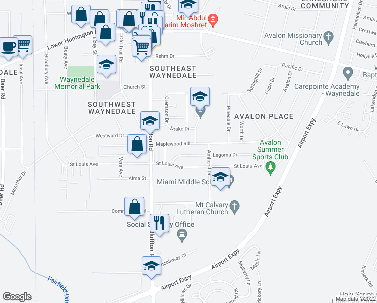 map of restaurants, bars, coffee shops, grocery stores, and more near 2114 Legoma Drive in Fort Wayne
