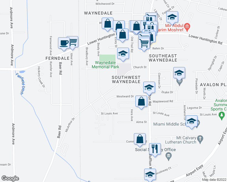 map of restaurants, bars, coffee shops, grocery stores, and more near 2807 McArthur Drive in Fort Wayne