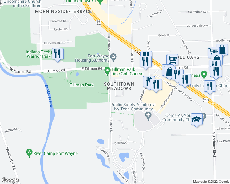 map of restaurants, bars, coffee shops, grocery stores, and more near West Melody Circle in Fort Wayne