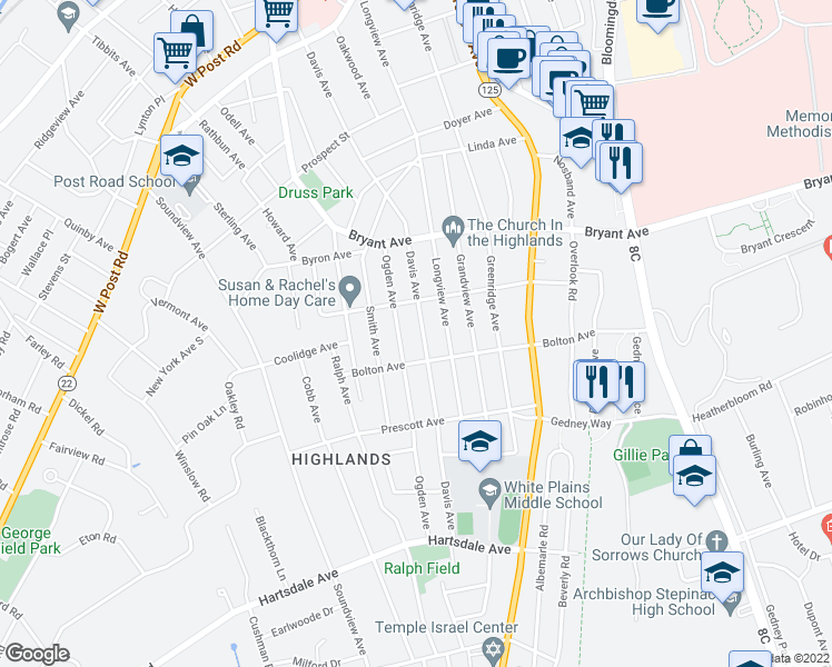 map of restaurants, bars, coffee shops, grocery stores, and more near 157 Davis Avenue in White Plains