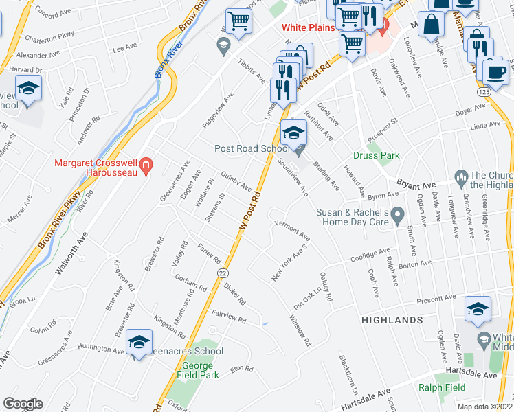 map of restaurants, bars, coffee shops, grocery stores, and more near 243 West Post Road in White Plains