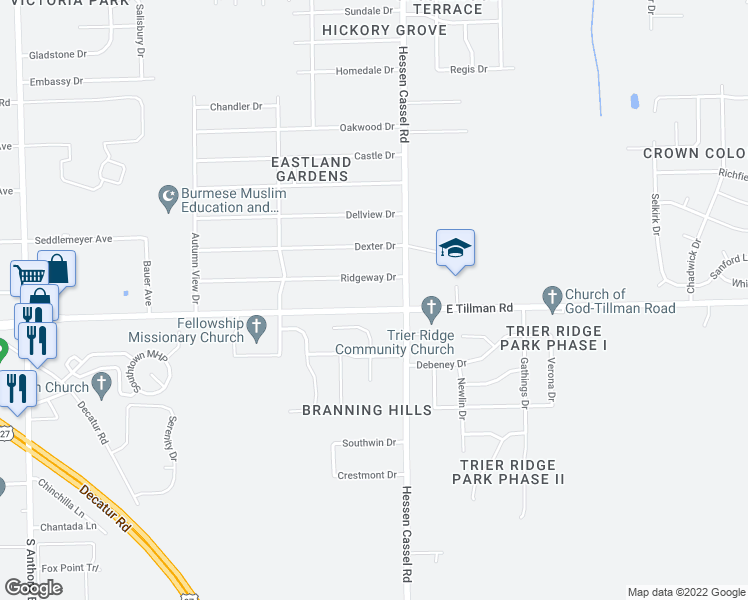 map of restaurants, bars, coffee shops, grocery stores, and more near 3109 East Tillman Road in Fort Wayne