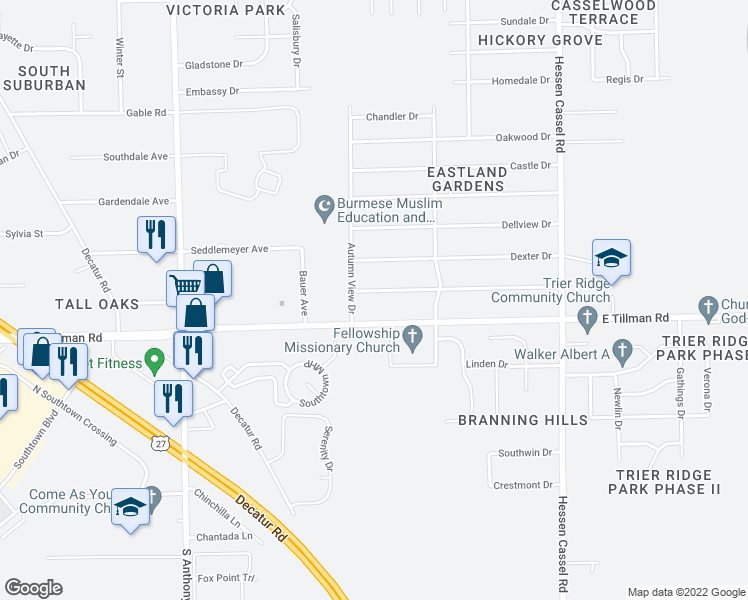 map of restaurants, bars, coffee shops, grocery stores, and more near 2520 Ridgeway Drive in Fort Wayne