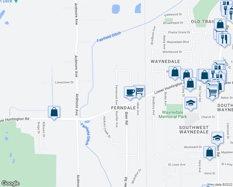 map of restaurants, bars, coffee shops, grocery stores, and more near Fernwood Avenue in Fort Wayne