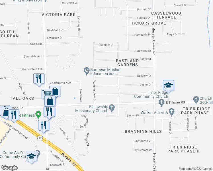 map of restaurants, bars, coffee shops, grocery stores, and more near Dexter Drive in Fort Wayne