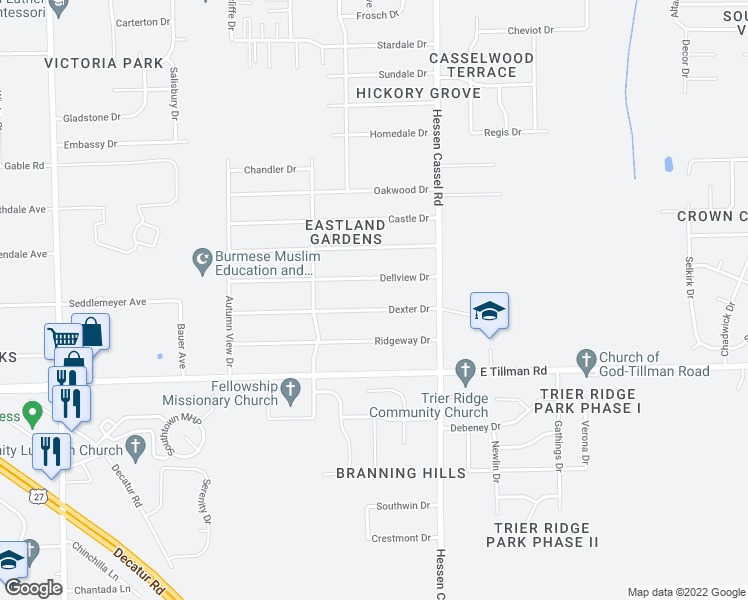 map of restaurants, bars, coffee shops, grocery stores, and more near 2925 Dexter Drive in Fort Wayne