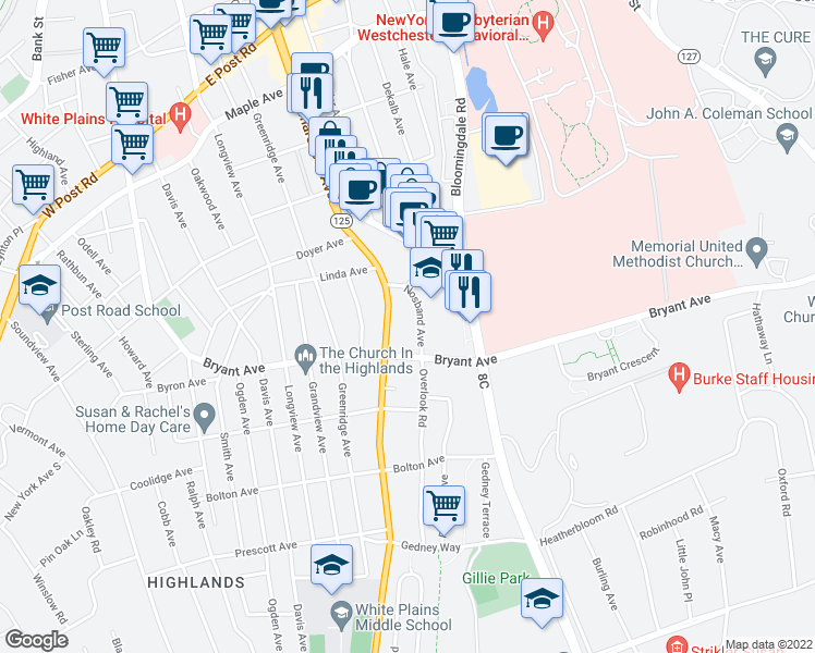 map of restaurants, bars, coffee shops, grocery stores, and more near 14 Nosband Avenue in White Plains