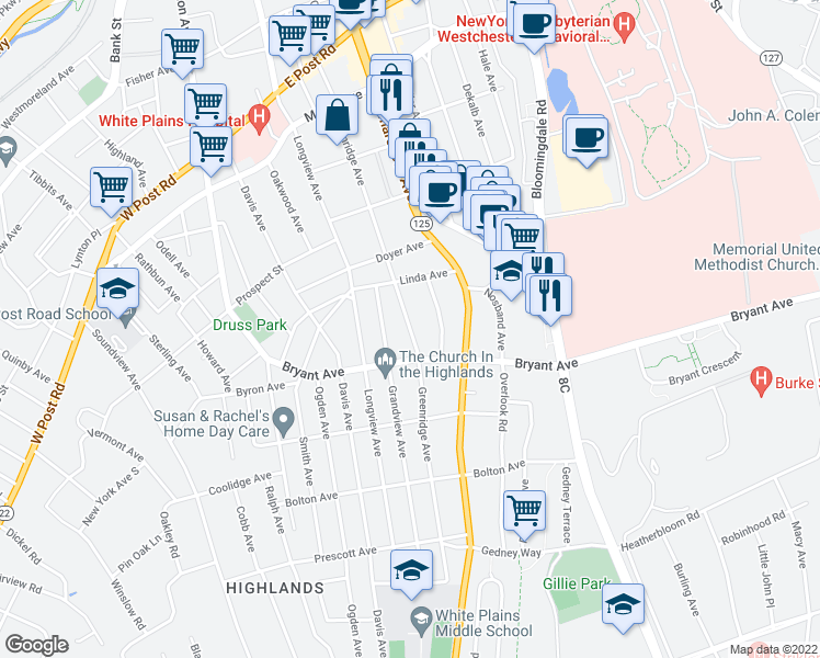 map of restaurants, bars, coffee shops, grocery stores, and more near Greenridge Avenue in White Plains