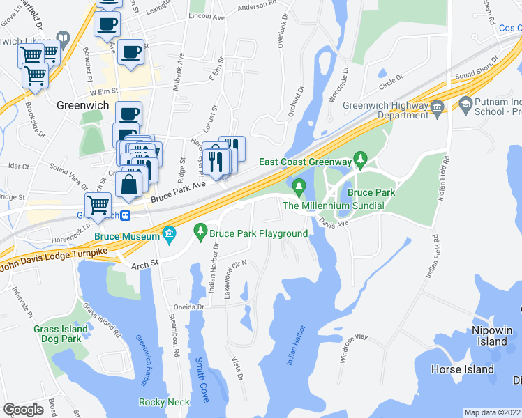 map of restaurants, bars, coffee shops, grocery stores, and more near 364 Davis Avenue in Greenwich