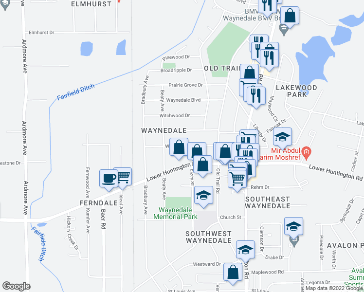 map of restaurants, bars, coffee shops, grocery stores, and more near Waynewood Drive in Fort Wayne