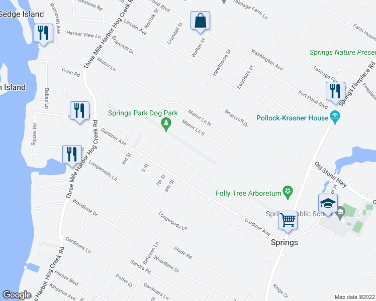 map of restaurants, bars, coffee shops, grocery stores, and more near 4 8th Street in East Hampton