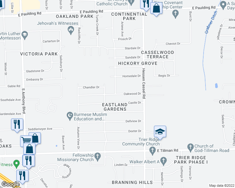 map of restaurants, bars, coffee shops, grocery stores, and more near Oakwood Drive in Fort Wayne