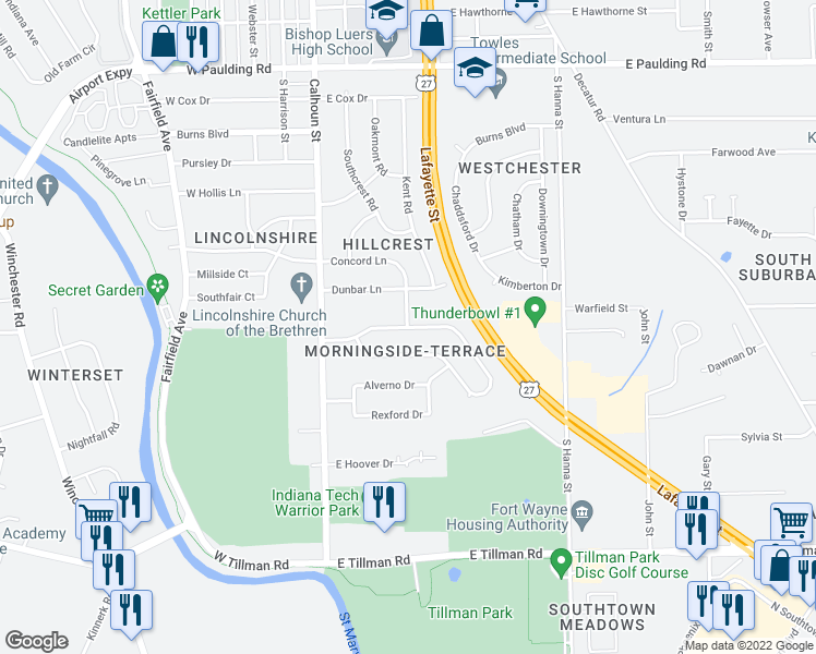 map of restaurants, bars, coffee shops, grocery stores, and more near Edgeknoll Lane in Fort Wayne