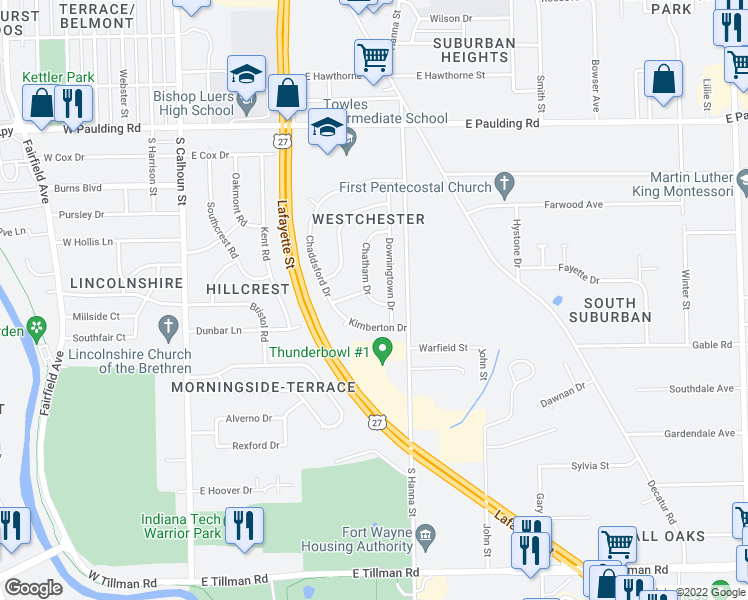 map of restaurants, bars, coffee shops, grocery stores, and more near Chatham Drive in Fort Wayne