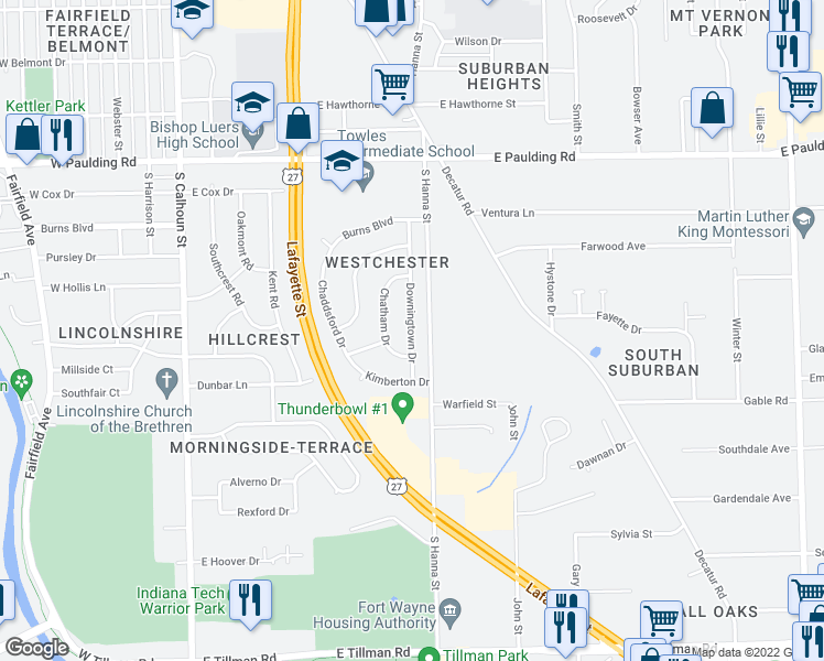 map of restaurants, bars, coffee shops, grocery stores, and more near Downingtown Drive in Fort Wayne