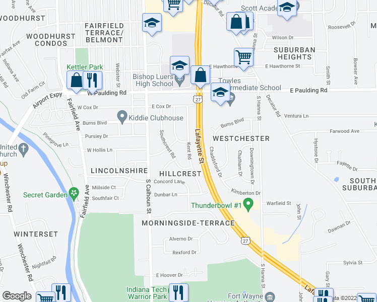 map of restaurants, bars, coffee shops, grocery stores, and more near Kent Road in Fort Wayne