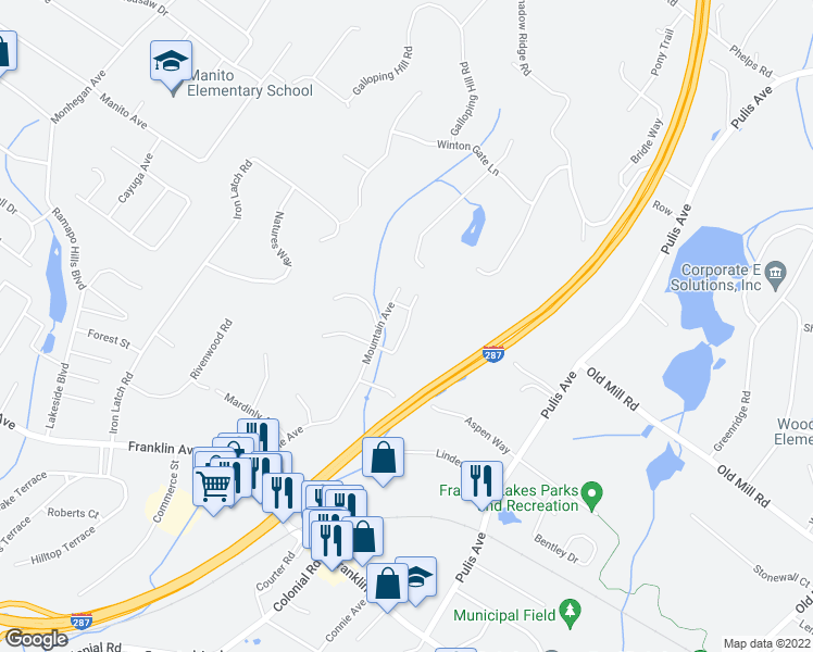 map of restaurants, bars, coffee shops, grocery stores, and more near Wildwood Avenue in Franklin Lakes