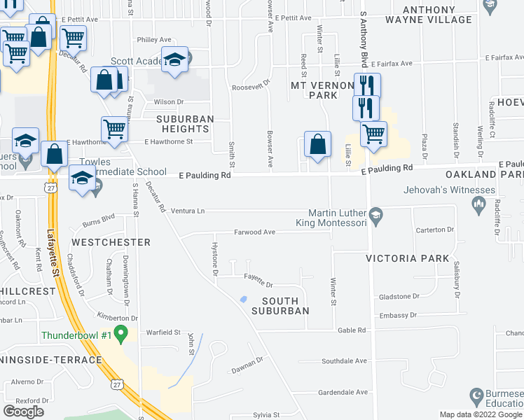 map of restaurants, bars, coffee shops, grocery stores, and more near Ventura Lane in Fort Wayne