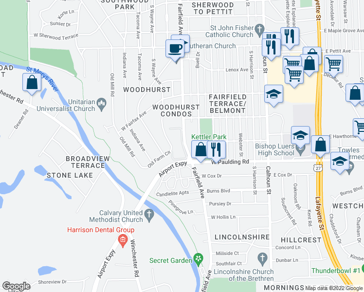 map of restaurants, bars, coffee shops, grocery stores, and more near 5665 South Wayne Avenue in Fort Wayne