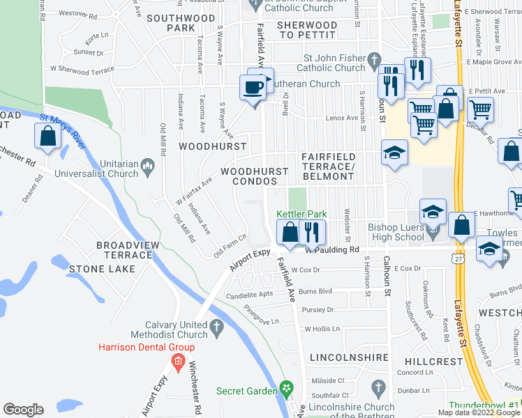 map of restaurants, bars, coffee shops, grocery stores, and more near 5561 South Wayne Avenue in Fort Wayne
