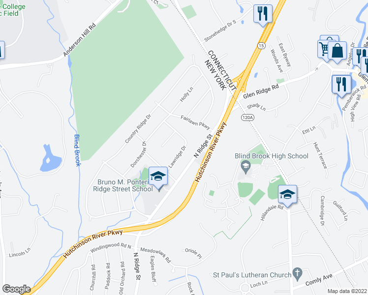 map of restaurants, bars, coffee shops, grocery stores, and more near Lawridge Drive in Rye Brook