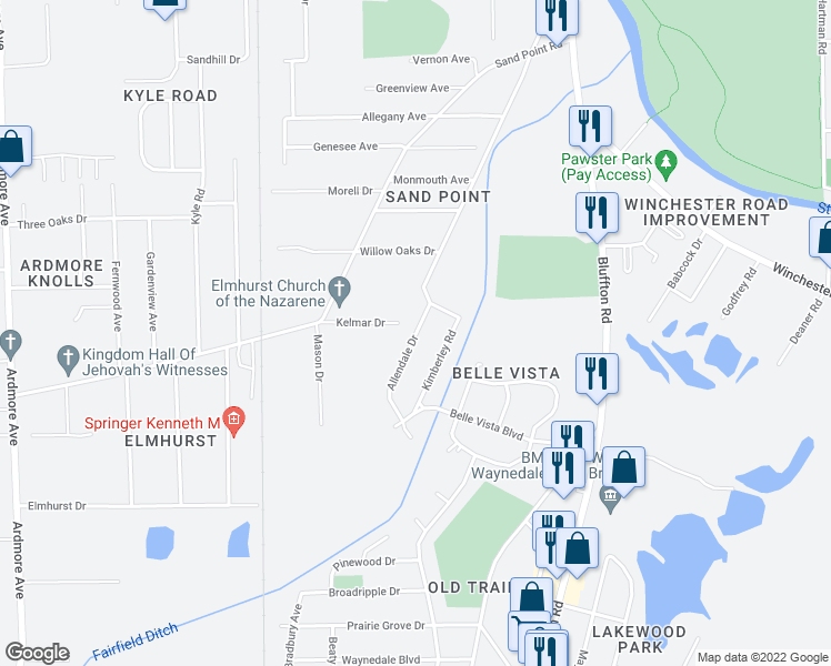 map of restaurants, bars, coffee shops, grocery stores, and more near Allendale Drive in Fort Wayne