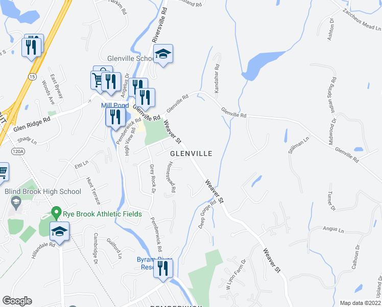 map of restaurants, bars, coffee shops, grocery stores, and more near 0 Greenwich Hills Drive in Greenwich