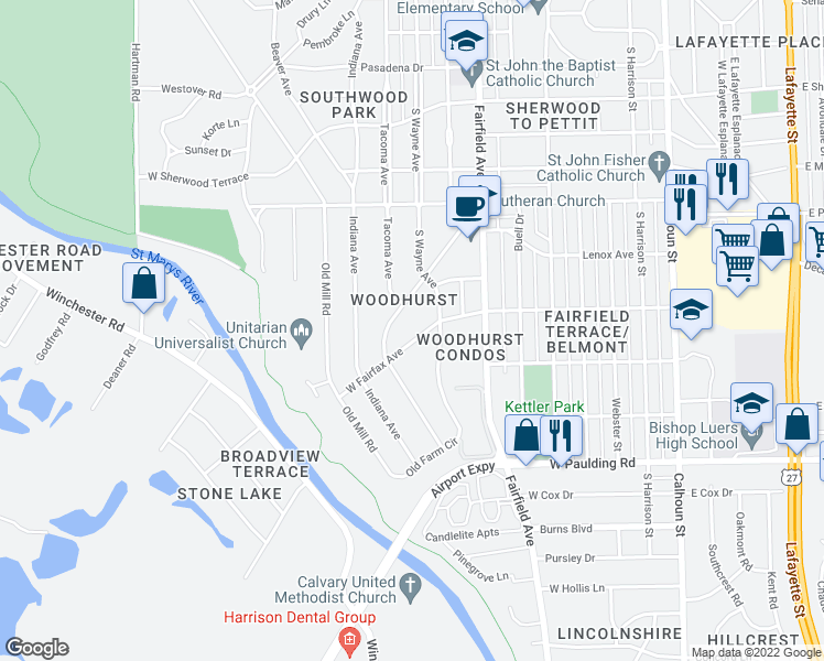 map of restaurants, bars, coffee shops, grocery stores, and more near 728 West Fairfax Avenue in Fort Wayne